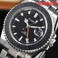 Автоматические Мужские часы с керамическим ободком 40 мм  водонепроницаемые механические часы с черным циферблатом GMT