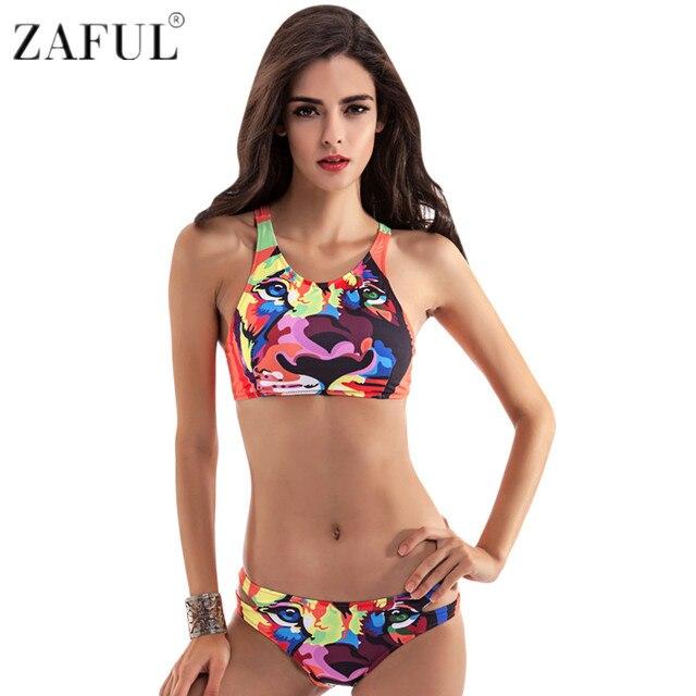 88649a3fc6d ZAFUL 2017 Tiger Print Swimsuit Swimwear Women Sexy Brazilian Bikini Set  Colorful Bikinis Women Plus Size Biquini Bathing Suit
