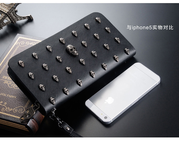 High quality New women wallets fashion personality Skull design Clutch Bags Female purse Bags ladies wallet men rivet purse 2017 hot selling women punk wallet high grade fashion vintage bag wallets skull head rivet purse handbag brand long purse new