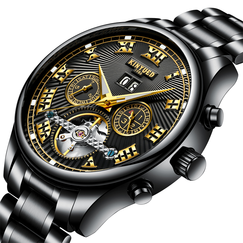KINYUED Skeleton Automatic Flying Tourbillon Steel Strap Mechanical Watch Self Winding Horloges with Watch Box цена и фото
