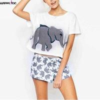 Cute Women S Sets Elephant Print 2 Pieces Set Crop Top Shorts Knitted Loose Tops Plus