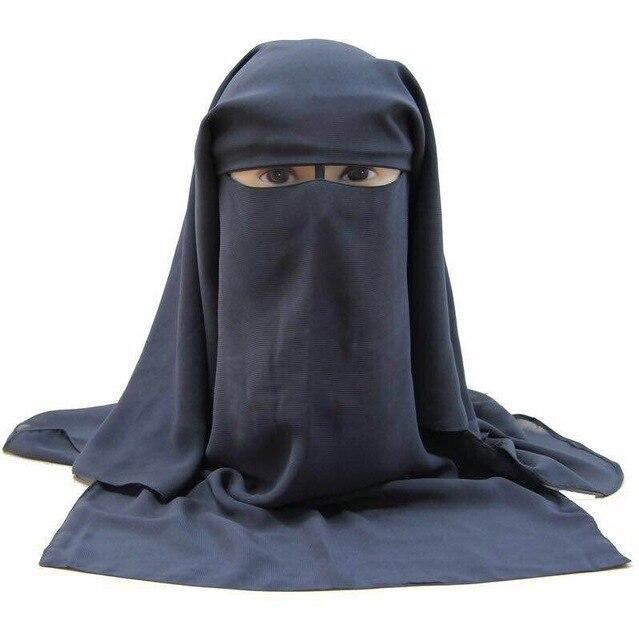 חם ארוך חיג אב המוסלמי מסכת פנים הבורקה 3 שכבות צעיף ניקאב