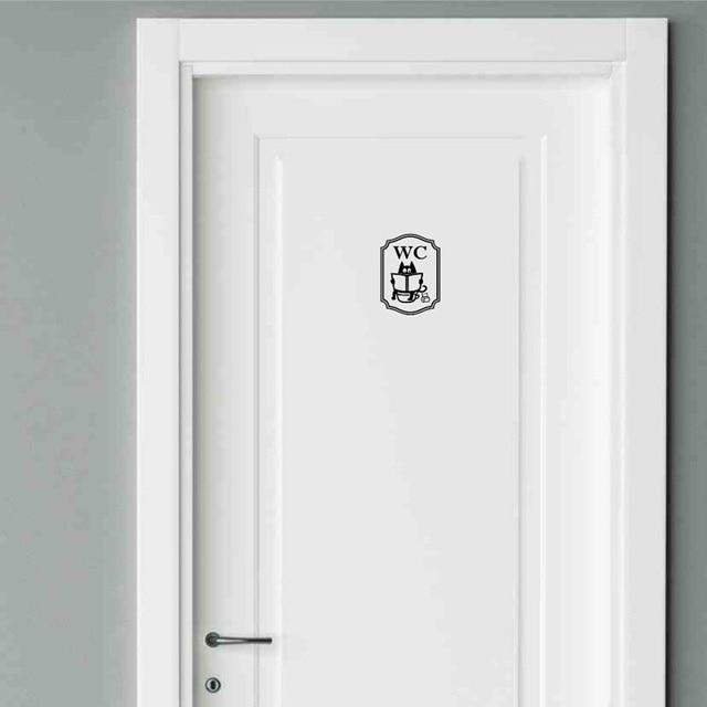 Funny Cat Bathroom Toilet Stickers Fashion Style Vinyl Door Stickers 2WS0040