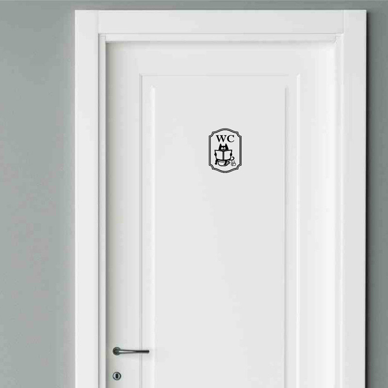 Funny Cat Bathroom Toilet Stickers Fashion Style Vinyl Door Stickers  2WS0040(China)