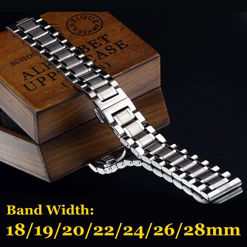 Silver Stainless Steel Band 18mm/19mm/20mm/22mm/24mm/26mm/28mm Solid Mens Wrist Watch Band Strap Watchband Replace Watch Straps