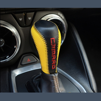QHCP 1pcs Genuine leather Car Gear Decoration Cover Car Interior Accessories For 2016 2017 Chevrolet Camaro Free Shipping