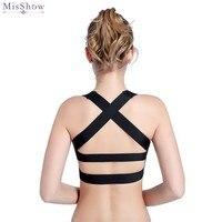 MisShow Black Straps Sport Bra Women Backless Fitness Gym Running Athletic Vest 2019 Push Up Yoga Tank Tops Underwear