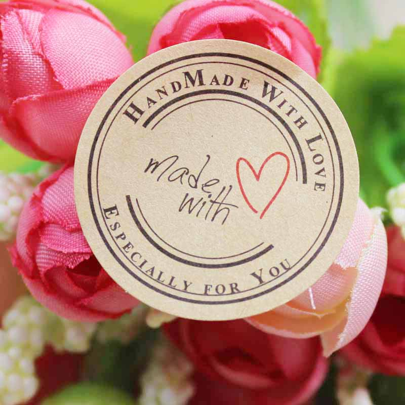 100pcs Heart  Self Adhesive Labels Vintage Kraft Handmade With Love Labels Paper Self Seal Thank You Labels 3cm Size