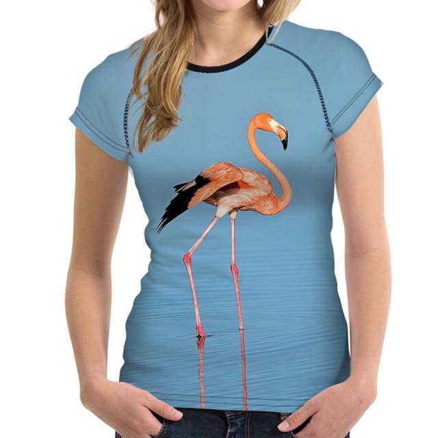 f66bc98a9af2ec FORUDESIGNS Frauen T shirt Flamingo Druck Cartoon Shirts Süße Mädchen  Sommer Kurzarm Weiblichen Tees Elastischen Tops