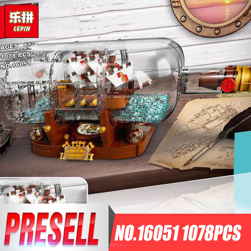 Lepin 16051 New Toys 1078Pcs Movie Series The 21313 Ship in a Bottle Set Building Blocks Bricks Funny Toys Kid Birthday Gifts black pearl building blocks kaizi ky87010 pirates of the caribbean ship self locking bricks assembling toys 1184pcs set gift