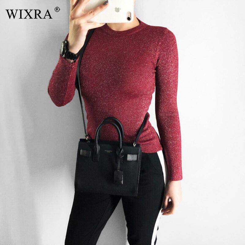 Wixra femmes hiver printemps tous les bas Match pull col rond de base pour les pulls quotidiens couleur Pure femmes vêtements