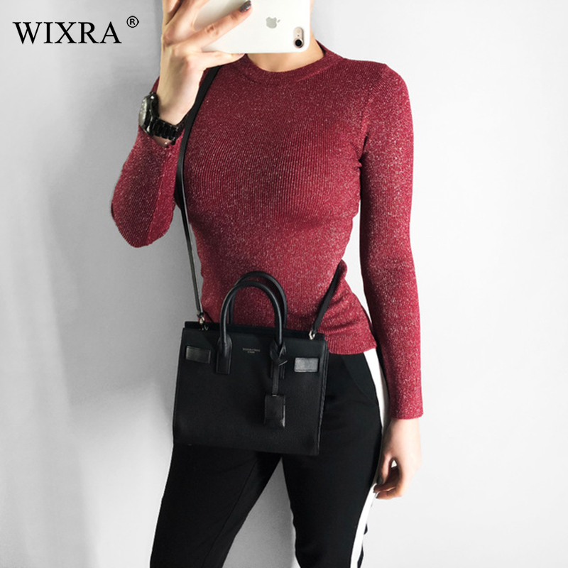 Wixra Women Winter Spring All Base Match O-Neck Sweater Basic For Daily Pullovers Pure Color Womens Clothing