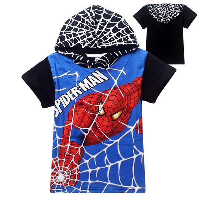 Spiderman T-Shirt Boys Short Sleeve Cotton Children's Summer Tees Tops