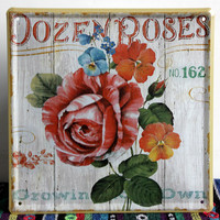 Vintage Bar Coffee House Iron Painting Metal Wall Art Decoration Rose Garden Garage Poster Retro Crafts