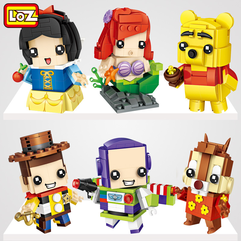 LOZ Mini Blocks Cartoon mermaid Model DIy Educational Toy Small Anime brinquedos Kids Building Bricks Girl Gifts loz gas station diy building bricks blocks toy educational kids gift toy brinquedos juguetes menino