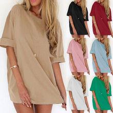 Summer Womens T-shirt Casual Soild Colors Plus Size Long Shirt Dress US