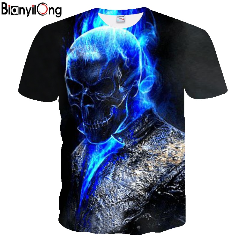 2018 Mens T Shirts Fashion New Summer Men's Short Sleeve T-shirt Casual 3D Blue Skull Print Rock Tshirt For Man Full Printed