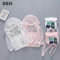 B & N Casaco Meninas Do Bebê Saco de Verão Proteção UV Macio Outerwear Crianças Dos Desenhos Animados Respirável Roupas de Proteção Solar Para Os Meninos e Meninas