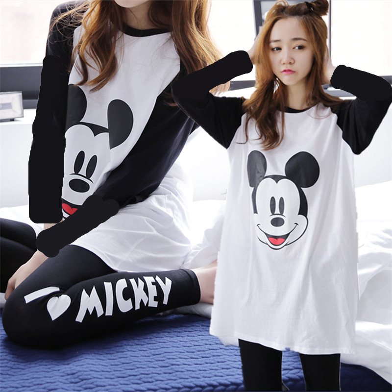 Womens Pajamas Sets Long-Pant Lapel Girls Autumn Cotton Top For Sleepwear Printing