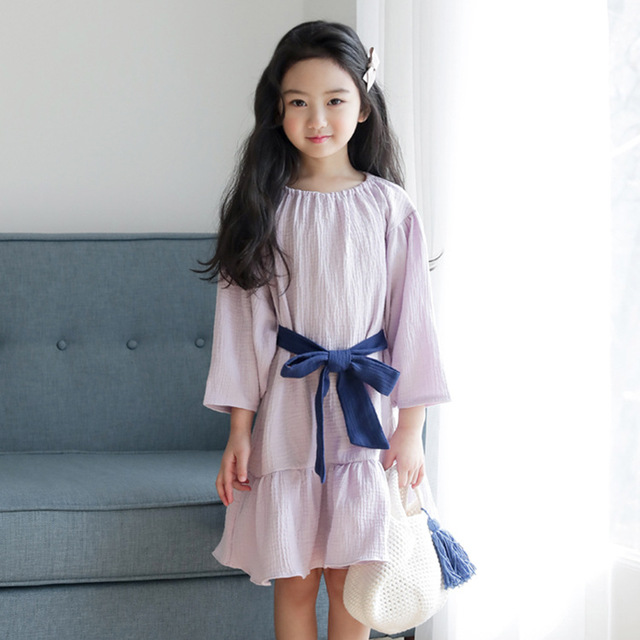 Girls Cotton Dresses 2018 New Summer Brand Kids Princess Dress Cute Bow Design for Teenage Girls 4-14Y Children Clothes CC815