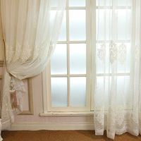 Classical European Luxurious Style Transparent White Beige Blue Dye Yarn Curtains For Living Room Bedroom Kitchen