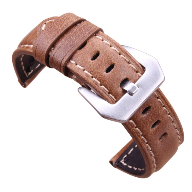 Wholesale 10pcs/set Watchbands Retro Genuine Leather Brown Men 20 22 24mm Soft Watch Band Strap Metal Pin Buckle Accessories | Fotoflaco.net