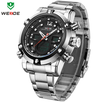 WEIDE Top Luxury Brand Quartz Watches Men LED Digital Clock Man Sports Military Stainless Steel Wrist
