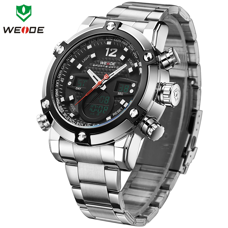 WEIDE Top Luxury Brand Quartz Watches Men LED Digital Clock Man Sports Military Stainless Steel Wrist Watch Relogio masculino 2018 new luxury brand weide men watches men s quartz hour clock analog digital led watch pu strap fashion man sports wrist watch