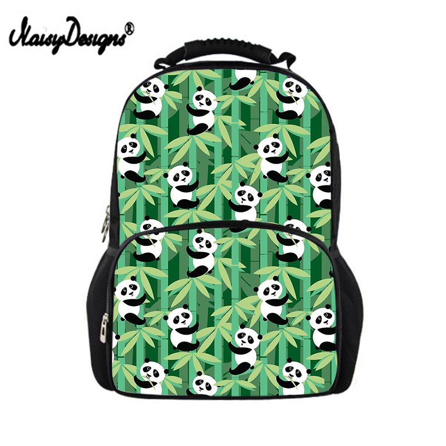 Noisydesigns Woman Cartoon Panda Pattern School Backpack Daypack For <font><b>Teen</b></font> <font><b>Girls</b></font> Boys Schoolbag Students Men Book Bags Daily Back image