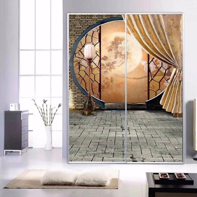 Us 198 Darmowa Wysyłka Szkło Balkon łazienka Naklejki Szafa Drzwi Przesuwne Drzwi Przesuwne Z Duży Mural Tapety 3d Księżyc Rozmiarze