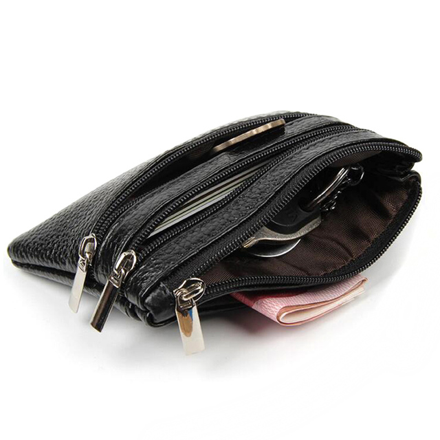 PU Leather Women Housekeeper Portable Business Credit Card Holder Small Key Wallet Coin Pouch Change Money Case Key Ring 2