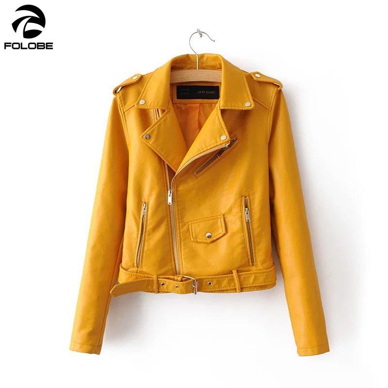 FOLOBE Autumn New Short Faux Soft   Leather   Jacket Women Fashion Zipper Motorcycle PU   Leather   Jacket Ladies Basic Street Coat