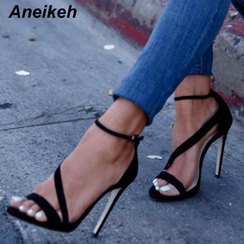 Aneikeh New Fashionable Sexy Design Women Line Style Buckle Thin High Heels Black Faux Suede Open Toe Dress Sandals 999-9 1 5mm 2mm 3mm gold silver hot fix flatback half round nail art rivet punk rock style for 3d nail art decoration