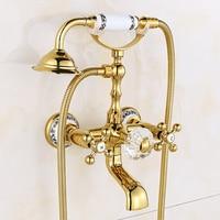 Настенное крепление Европейский античная душа золото polsh Ванная комната смеситель для душа латунь и кристалл ретро Европейский комплект di2