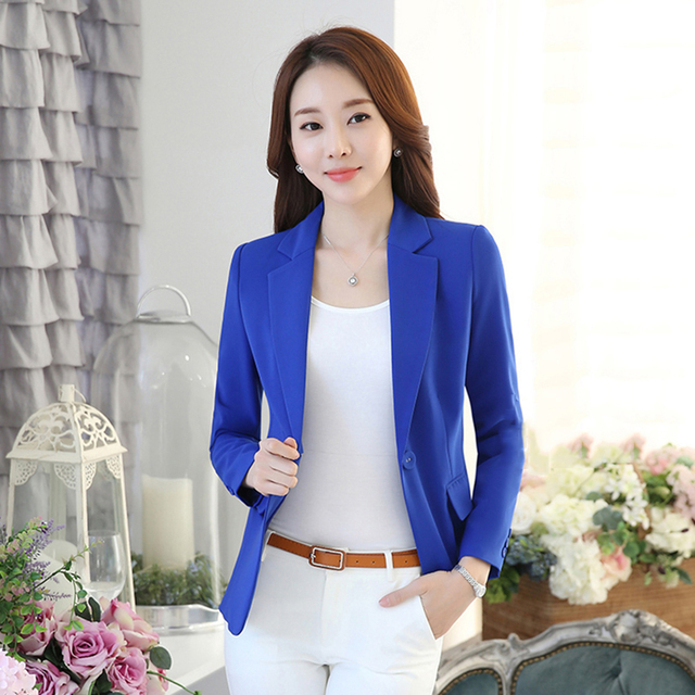 01e112d658844 Slim Spring Suit Jacket Women Plus Size 2017 Long Sleeve Button Royal Blue  Blazer Work Wear Tailleur Femme Women Tops 50N0286