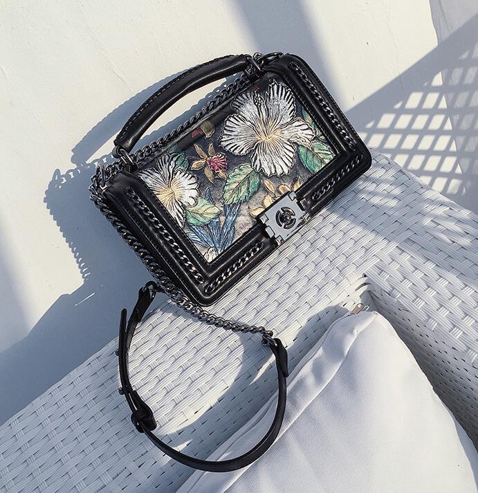 Sheepskin Flap Embossing Colorful Flowers Tote Chain Knitting Edge Shoulder Bag Women Crossbody Purse Genuine Leather Handbag