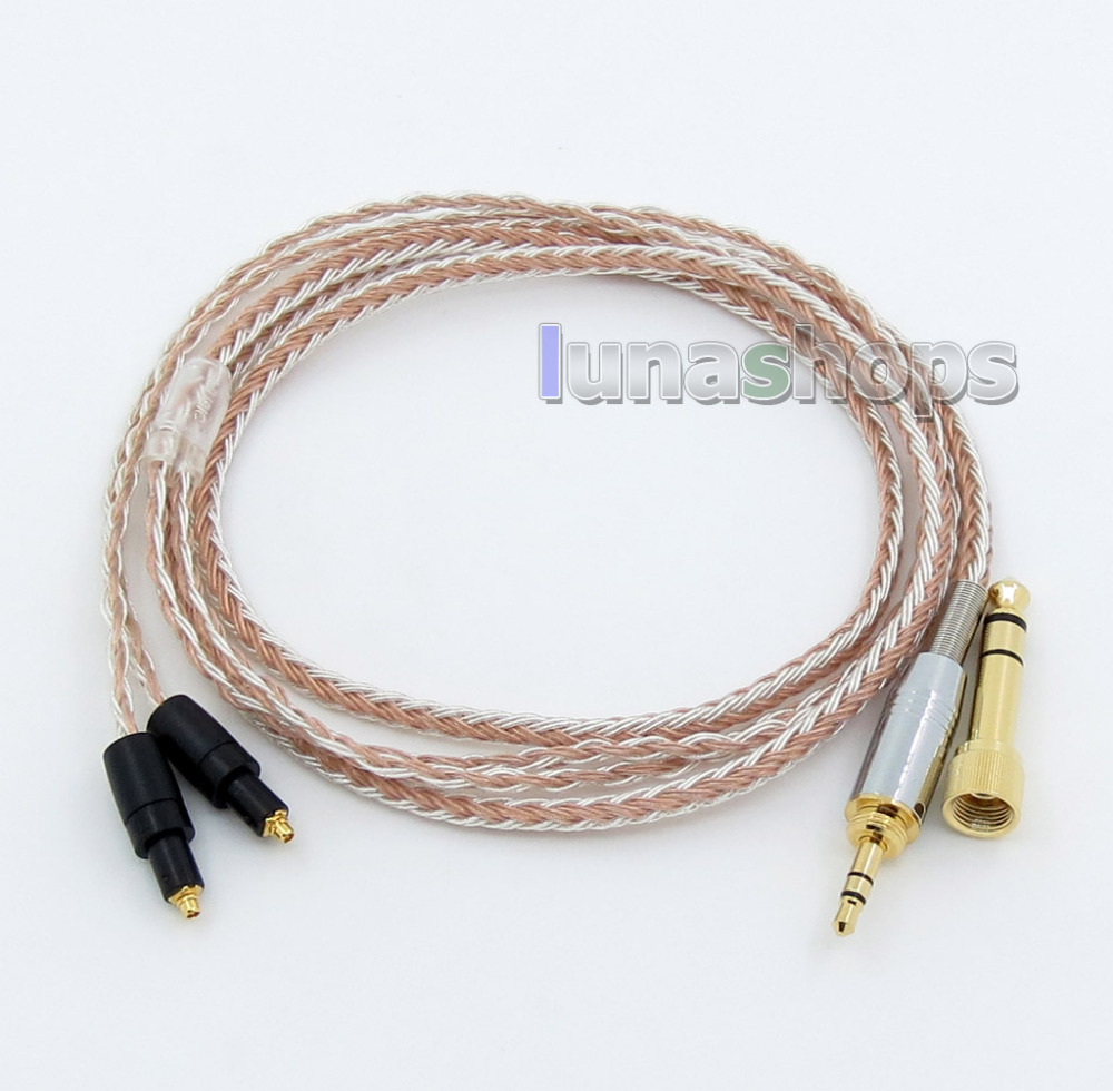 6.5mm 3.5mm 16 Cores OCC Silver Plated Mixed Headphone Cable For Shure SRH1540 SRH1840 SRH1440 LN005834 цена