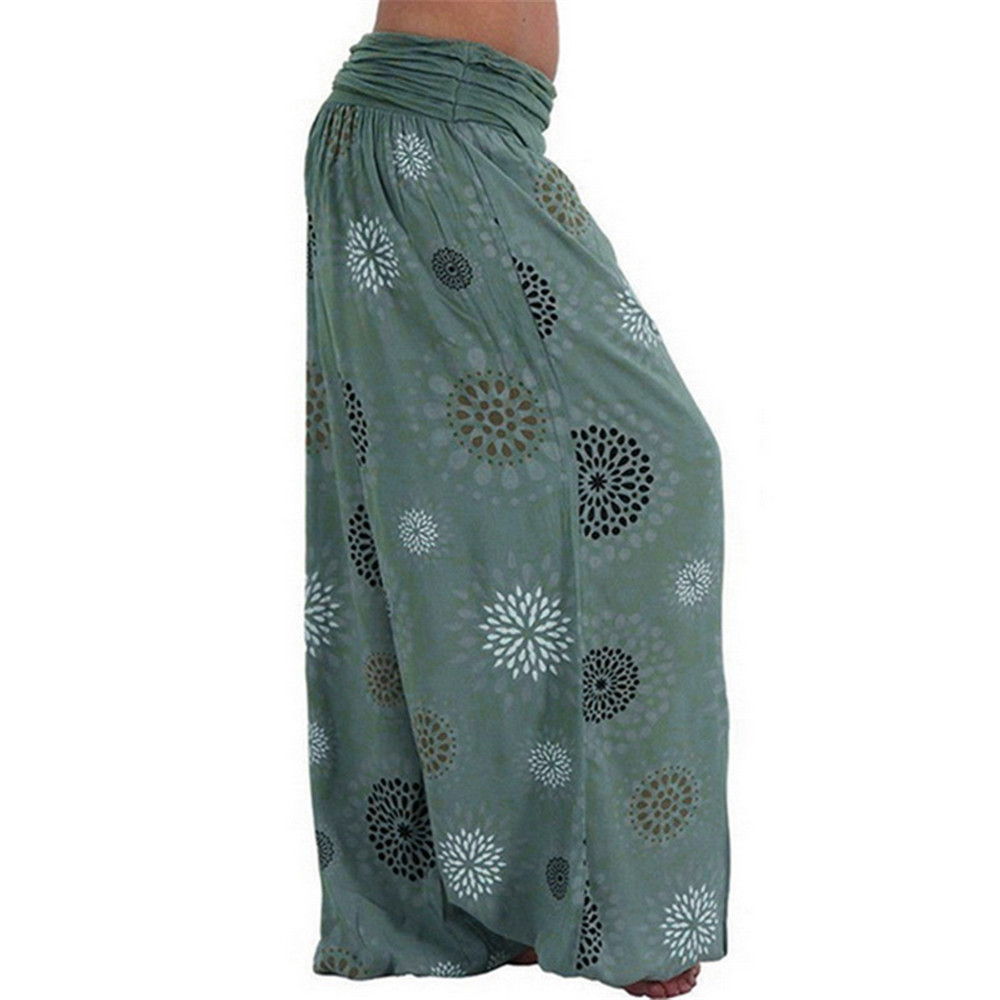 New Women Casual Harem Pants Single Code Loose Printing Multi-color Ladies Wide Leg Boho Elastic