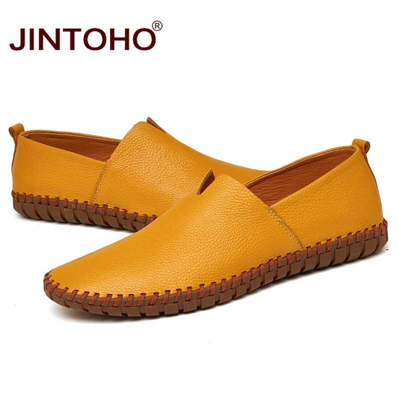 JINTOHO Big Size Mannen Echt Lederen Schoenen Mode Slip Op Schoenen Voor Mannen Italiaanse Lederen Mannen Loafers Merk Mannen Schoenen