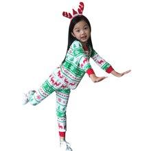 2016 New Baby Boys Girls Christmas Clothing Set Girl Reindeer Pajamas Kids Christmas Nightwear Cotton Pj's Pajamas 2-8Yrs 20E
