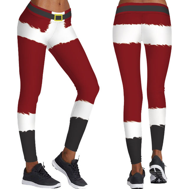 Christmas Red Stripes Print Yoga Leggings Santa Claus Cosplay Tights  Stretchy Sports Trousers Women Training Tayt 6d88c07b63ba