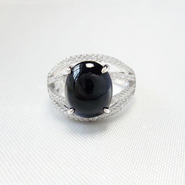 Extravagante anillo natural del zafiro 925 anillo de plata Esterlina de La Vendimia grande negro natural sapphire bule joyería para mujer regalo de la muchacha