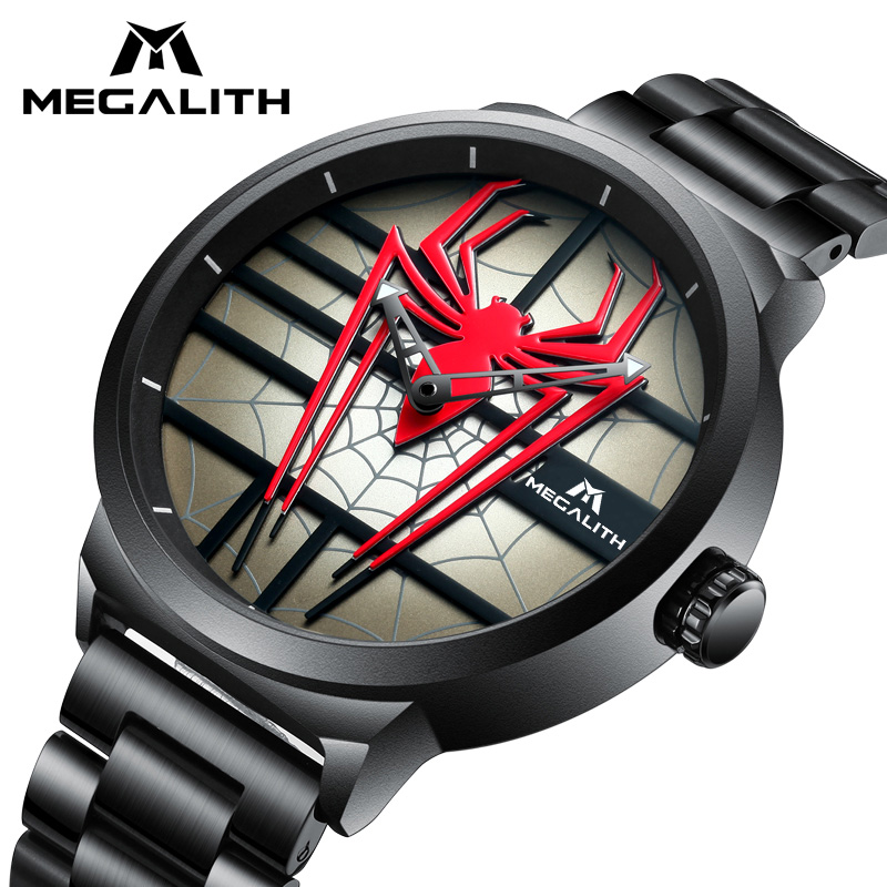 Fashion Personality Red Spider Watch Men MEGALITH Waterproof Quartz Sport Watch For Men Steel Strap Analogue Clock Reloj Hombre цена и фото