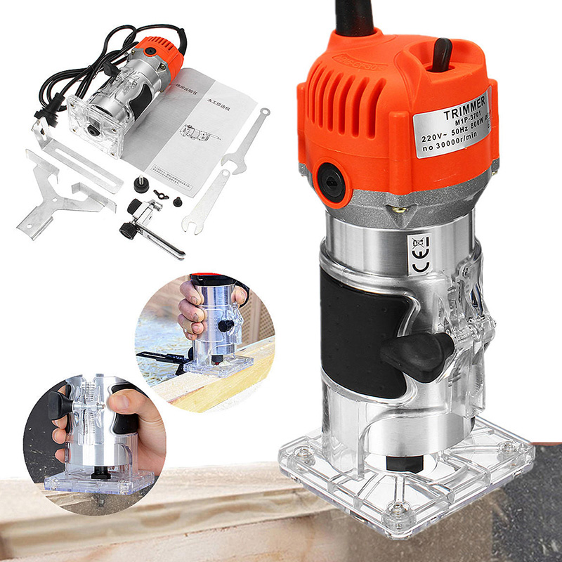 800W 30000rpm Woodworking Electric Trimmer Wood Milling Engraving Slotting Trimming Machine Hand Carving Wood Router