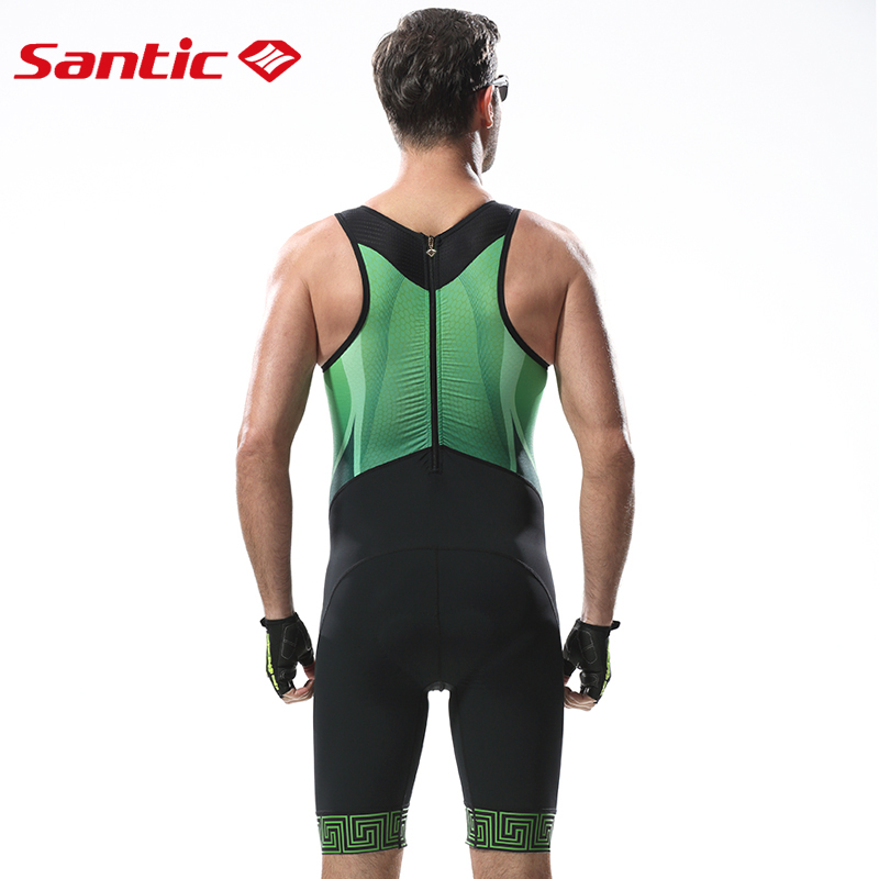 Santic Men Triathlon Cycling Jersey Italy Imported Quick Dry Breathable Tight Suit Cycling Mens Road MTB Bike Sleeveless Suit-in Cycling Sets from Sports & Entertainment    3