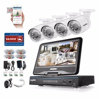 SANNCE 10 LCD Monitor DVR 4CH CCTV System 4pcs 1 0MP 1200TVL IR Outdoor Security Camera