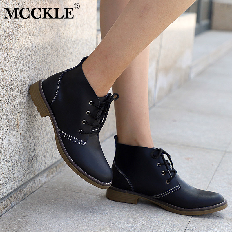 MCCKLE Woman Fashion Genuine Leather Motorcycle Ankle Boots Female Lace Up Low Heels Platform Comfortable Spring Autumn Shoes yaerni woman fashion genuine leather motorcycle ankle boots female lace up low heels platform comfortable spring autumn shoes