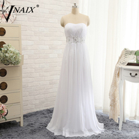 Vnaix W3011 Simple A Line Chiffon Beach Wedding Dresses 2015 Strapless With Beaded Sashes Summer Style