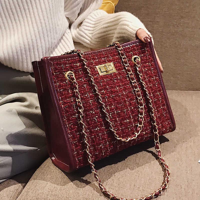 cddedf92c696 2 bags 2018 Winter Fashion New Ladies Big Tote bag Quality Woolen Women s  Designer Handbag Lock