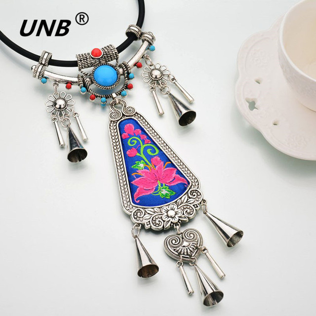 UNB 2017 New Handmade Creative Tessal Pendents Necklace Unique Boho Bohemia Long Chain Necklaces Embroidery Ethnic Jewelry Gifts